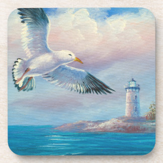 Painting Of A Seagull Flying Near A Lighthouse Coaster