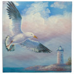 Painting Of A Seagull Flying Near A Lighthouse Cloth Napkins