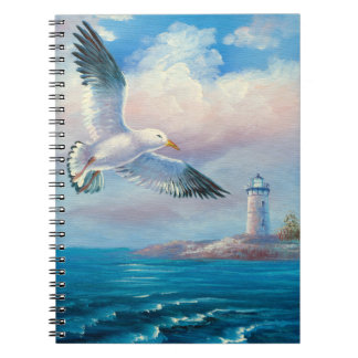 Painting Of A Seagull Flying Near A Lighthouse Journals
