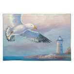Painting Of A Seagull Flying Near A Lighthouse Place Mat
