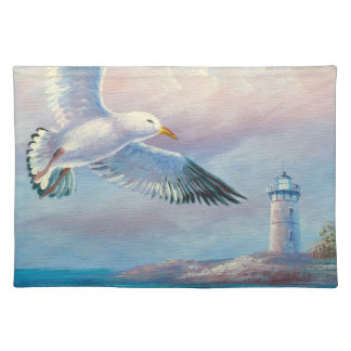 Painting Of A Seagull Flying Near A Lighthouse Placemat