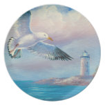 Painting Of A Seagull Flying Near A Lighthouse Party Plates