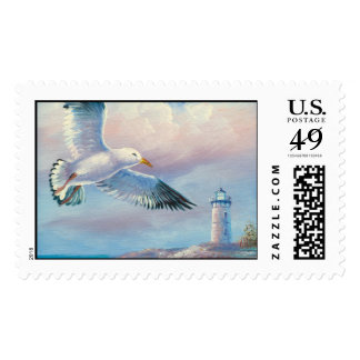 Painting Of A Seagull Flying Near A Lighthouse Postage