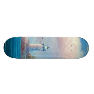 Painting Of A Seagull Flying Near A Lighthouse Skateboard Deck