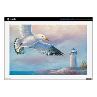 Painting Of A Seagull Flying Near A Lighthouse Laptop Skins