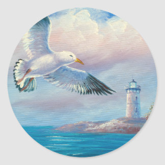 Painting Of A Seagull Flying Near A Lighthouse Sticker