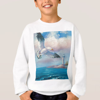 Painting Of A Seagull Flying Near A Lighthouse Sweatshirt