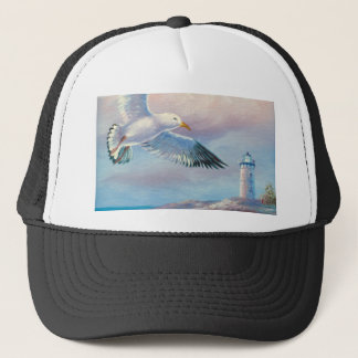 Painting Of A Seagull Flying Near A Lighthouse Trucker Hat