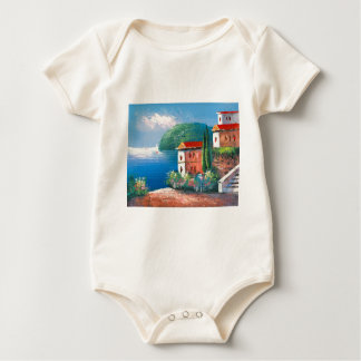 Painting Of A Seaside Villa In Italy Baby Bodysuit