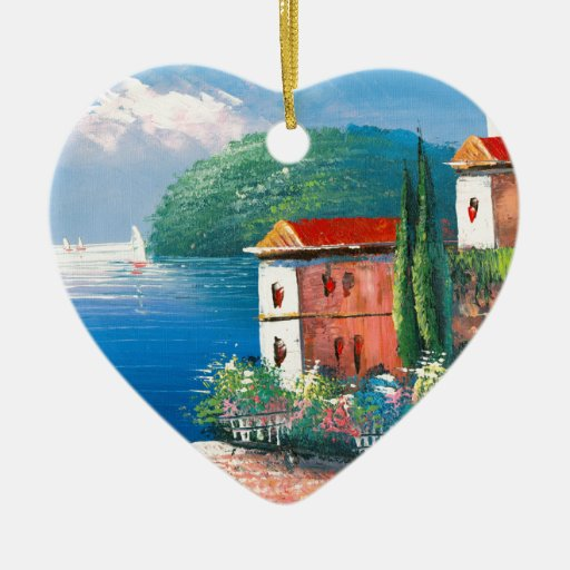 Painting Of A Seaside Villa In Italy Christmas Tree Ornament