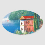 Painting Of A Seaside Villa In Italy Oval Stickers