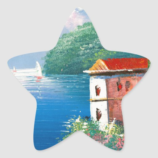 Painting Of A Seaside Villa In Italy Star Sticker