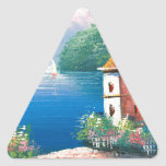 Painting Of A Seaside Villa In Italy Triangle Stickers
