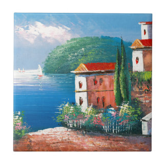 Painting Of A Seaside Villa In Italy Tile