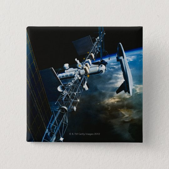 Painting of a Space Station Above Earth Button