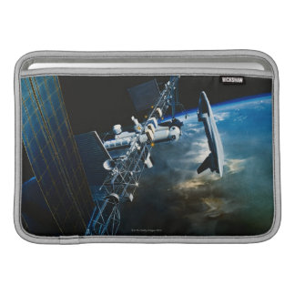 Painting of a Space Station Above Earth MacBook Sleeve