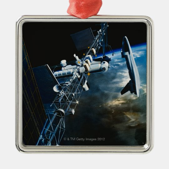 Painting of a Space Station Above Earth Metal Ornament