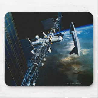 Painting of a Space Station Above Earth Mouse Pad