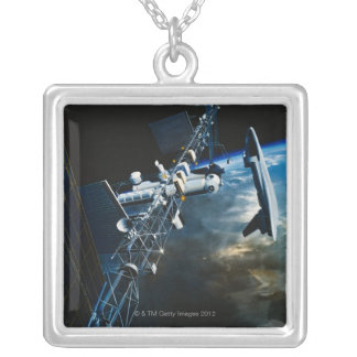 Painting of a Space Station Above Earth Necklace