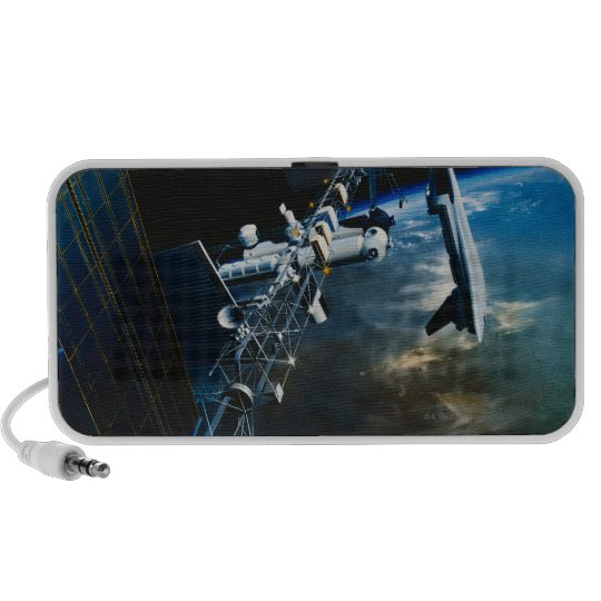 Painting of a Space Station Above Earth Portable Speaker