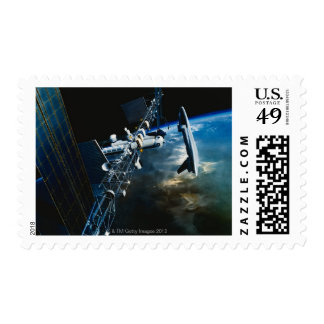 Painting of a Space Station Above Earth Stamps