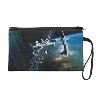 Painting of a Space Station Above Earth Wristlet