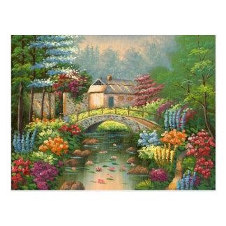 Painting Of A Stone Walking Bridge Postcard