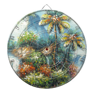 Painting Of A Tropical Waterfall Dartboard With Darts