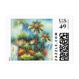 Painting Of A Tropical Waterfall Postage Stamps