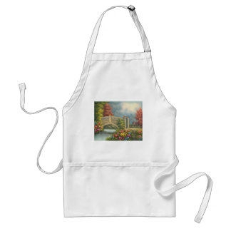 Painting Of A Walking Bridge Surrounded By Flowers Adult Apron
