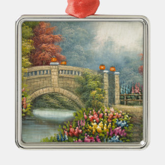 Painting Of A Walking Bridge Surrounded By Flowers Metal Ornament