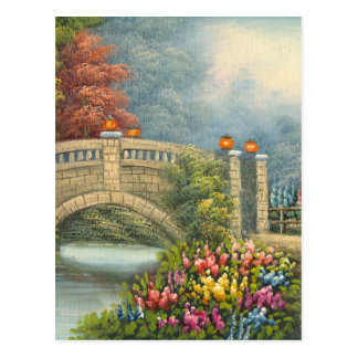 Painting Of A Walking Bridge Surrounded By Flowers Post Cards