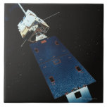Painting of a Weather Satellite Large Square Tile
