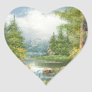 Painting Of A Wilderness River Heart Sticker
