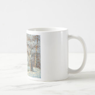 Painting Of A Winter Forest And River Coffee Mugs