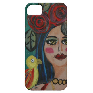 PAINTING OF A WOMAN WITH SMALL PARROT. iPhone SE/5/5s CASE