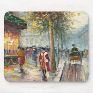 Painting Of An 1890's Fall Street Scene Mouse Pad