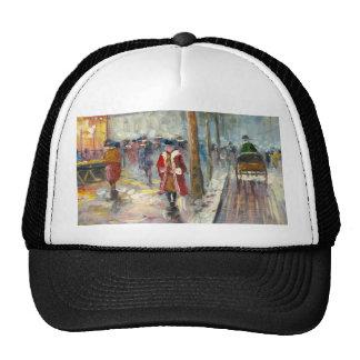 Painting Of An 1890's Fall Street Scene Trucker Hat
