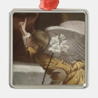 Painting of an angel pointing metal ornament