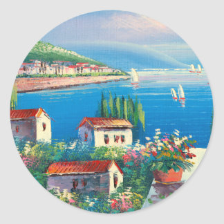 Painting Of An Italian Village Classic Round Sticker