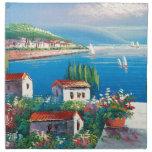 Painting Of An Italian Village Cloth Napkins