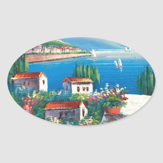 Painting Of An Italian Village Oval Sticker