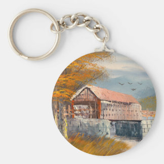 Painting Of An Old Pennsylvania Covered Bridge Keychain