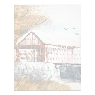 Painting Of An Old Pennsylvania Covered Bridge Letterhead