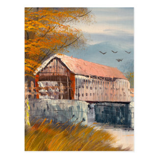 Painting Of An Old Pennsylvania Covered Bridge Postcard