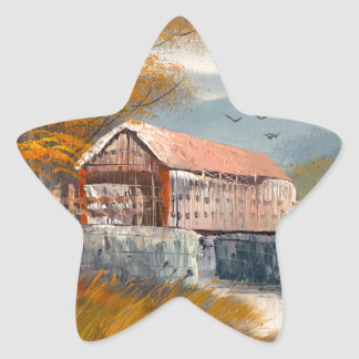 Painting Of An Old Pennsylvania Covered Bridge Star Sticker