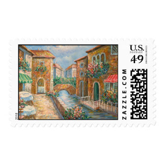 Painting Of An Old-Time Venice Street Postage Stamps