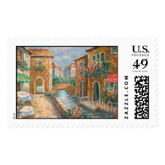 Painting Of An Old-Time Venice Street Postage