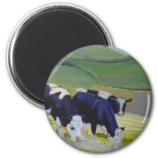 Painting of black and white holstein friesian cows 2 inch round magnet