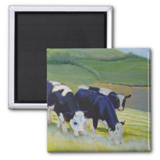 Painting of black and white holstein friesian cows 2 inch square magnet